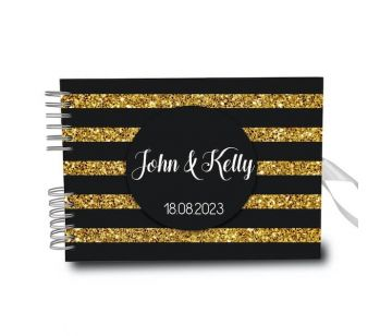 Personalised Shiny Gold Glitter With Black Stripe Guestbook DIY Photo Album With Different Page Style Options