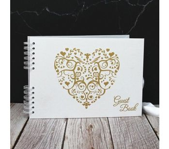 Good Size Gold Heart Guestbook with Slip-in Pages