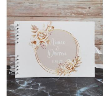 Personalised Gold & Pink Floral Circle Guestbook with Different Page Style Options