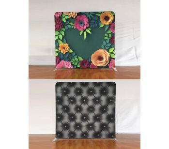 8ft * 7.5ft 3D Green Flowers and Black Chesterfield Backdrop, With or Without Tension Frame