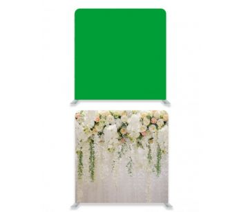 8ft*7.5ft Green Screen and Beautiful Pastel Flowers and Foliages Backdrop, With or Without Tension Frame
