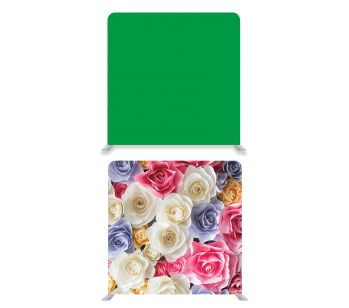 8ft*8ft Green Screen and Pretty Coloured Flowers Backdrop, With or Without Tension Frame.