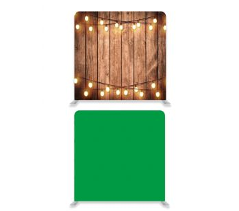 8ft*7.5ft Green Screen and Rustic Wood with Fairy Lights Backdrop