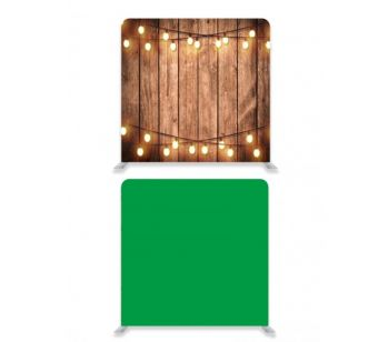 8ft*8ft Green Screen and Rustic Wood with Fairy Lights Backdrop, With or Without Tension Frame