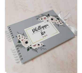 CUSTOM Grey With Pink & Green Floral Frame Guestbook with Different Page Options