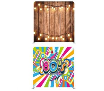 8ft*8ft Rustic Wood with Fairy Lights and Groovy 80's Double Backdrop