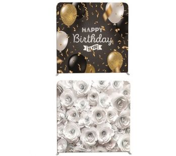 8ft*8ft Gold Sparkly Sand and Pretty Coloured Flowers Backdrop, With or Without Tension Frame