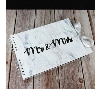 Good Size Black 'Mr & Mrs' Marble Guestbook with Slip-in Pages