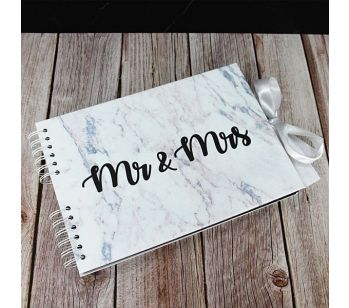 Good Size Black 'Mr & Mrs' Marble Guestbook with Printed Pages