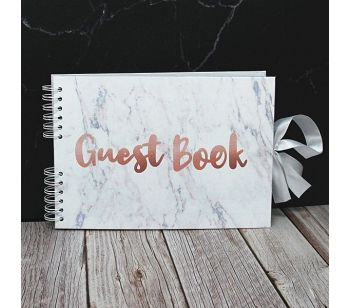 Good Size Marble Guestbook With Copper 'Guest Book' Message with Slip-in Pages