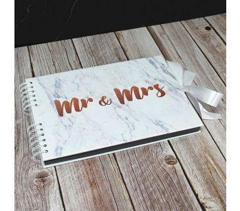 Good Size Copper 'Mr & Mrs' Marble Guestbook