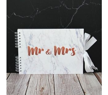 Good Size Copper 'Mr & Mrs' Marble Guestbook with Slip-in Pages