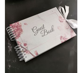 Good Size, Marble with Rose Gold Floral Frame Guestbook