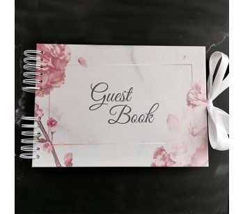Good Size, Marble with Rose Gold Floral Frame Guestbook with Slip-in Pages