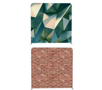 8ft*7.5ft Metal 3D Prism & Brick Wall Double Backdrop, With or Without Tension Frame