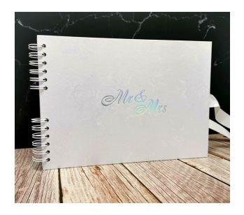 Good Size, White Rose Patterned Guestbook with Silver 'Mr & Mrs ' Message