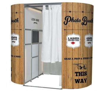 Brown Wood With Retro Graphics Photo Booth Panel Skins