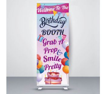 Pastel Pink & Purple Celebration Balloons ' Birthday Booth Smile Pretty' Roller Banner