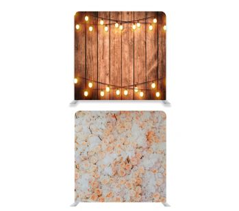 8ft * 7.5ft Peachy Coloured Flowers and Rustic Wood With Fairy Lights Backdrop, With or Without Tension Frame