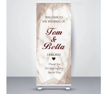 Personalized Marble Design Wedding Photobooth Roller Banner