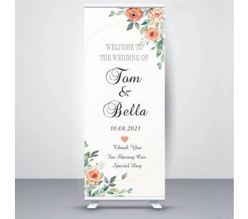 Personalised Floral Design Wedding Roller Banner