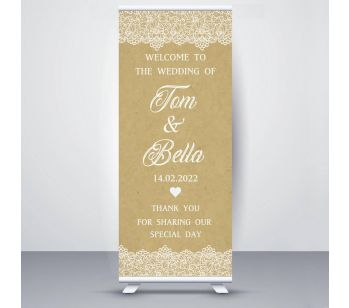 Personalised Retro Lace Design Wedding Roller Banner.