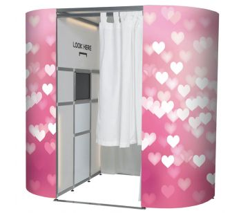 Pink & White Confetti Love Hearts Photo Booth Panel Skins