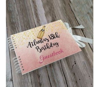 Personalised Pink with Gold Confetti Guestbook with Different Page Options