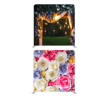 8ft * 7.5ft Pretty Coloured Flowers and Wedding Garden Backdrop, With or Without Tension Frame