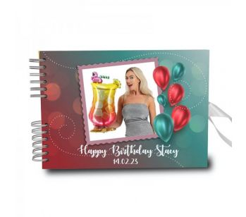 Personalised Red Green Metallic Balloons Photo Frame Guestbook With Different Page Style Options