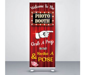 Pretty Glitzy Sand With Gold Rings 'Wedding Booth' Roller Banner
