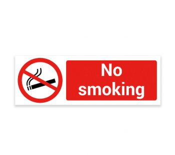 No Smoking – Warning Sign. Tough, Durable and Rust-Proof Weatherproof PVC Sign 300mm x 100mm. No 018