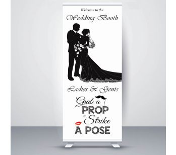 White Bride & Groom Wedding Booth Roller Banner