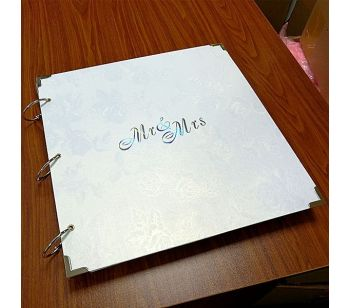 Large Plain Black Guestbook with Silver Protective Corners
