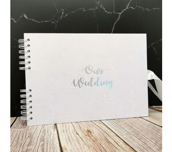 Good Size, White Rose Patterned Guestbook with Silver 'Our Wedding' Message with Printed Pages