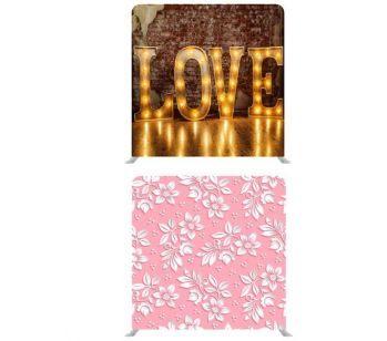 "8ft*8ft Rustic ""LOVE"" Lights and Pink with White 3D Flowers Backdrop"