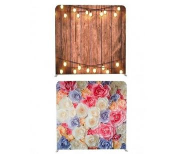 8ft*7.5ft Rustic Wood With Fairy Lights and Pretty Coloured Flowers Backdrop, With or Without Tension Frame