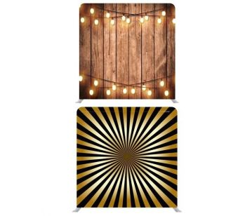 8ft*7.5ft Rustic Wood with Fairy Lights and Black and Gold Sunburst Backdrop