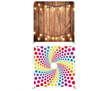 8ft*7.5ft Rustic Wood with Fairy Lights and Funky Rainbow Dot Swirl Backdrop