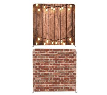 8ft*8ft Rustic Wood With Fairy Lights and Brick Wall Backdrop, With or Without Tension Frame. This tension fabric display kit is very easy to assemble. It consists of a lightweight, but strong, aluminium frame, with middle support bar for extra strength,
