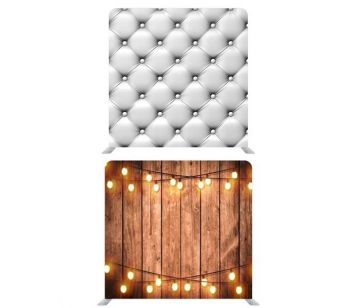 8ft*7.5ft White Chesterfield and Rustic Wood with Fairy Lights Backdrop