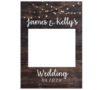 CUSTOM Rustic Wood with Fairy Lights Fully Printed Posing Frame