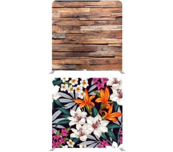 8ft*8ft Coloured Lilies on Black and Plain Rustic Wood Backdrop