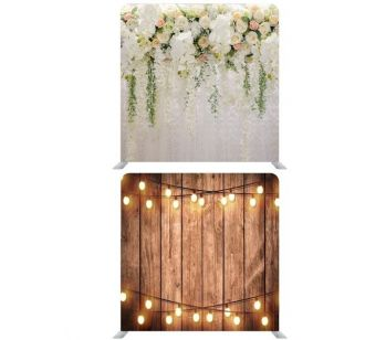 8ft*7.5ft Rustic Wood with Fairy Lights and Beautiful Pastel Flowers and Foliage Backdrop, With or Without Tension Frame