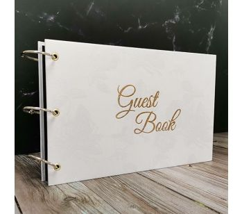 Chrome Ring Rose Patterned Guestbook with Golden 'Guest Book' Message