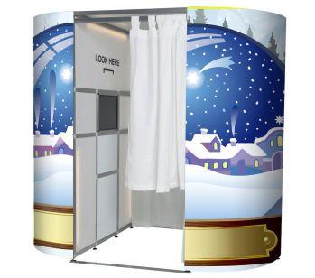 Snow Globe Christmas Scene Photo Booth Panels Skins