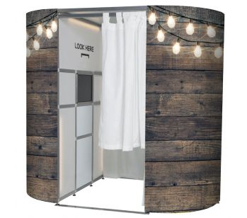 RUSTIC WOOD WITH  FAIRY LIGHTS PHOTO BOOTH PANEL SKINS