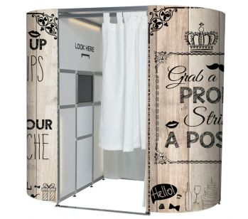 Light Wood With Vintage Illustrations Photo Booth Panel Skins
