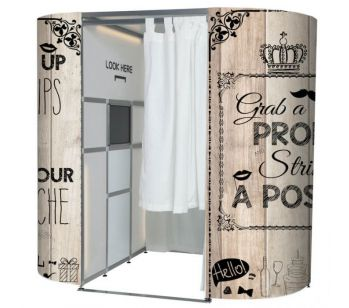 Light Wood With Vintage Illustrations Photo Booth Experience Skins