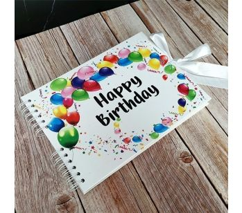 Good Size White Cover Happy Birthday Guestbook with Printed Pages